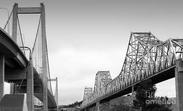 Alfred Zampa Wall Art - Photograph - The New Alfred Zampa Memorial Bridge And The Old Carquinez Bridge . Black And White . 7d8830 by Wingsdomain Art and Photography