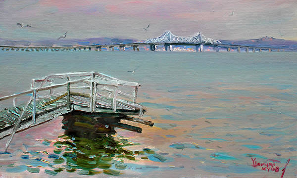 Hudson Painting - The Old Deck And Tappan Zee Bridge by Ylli Haruni