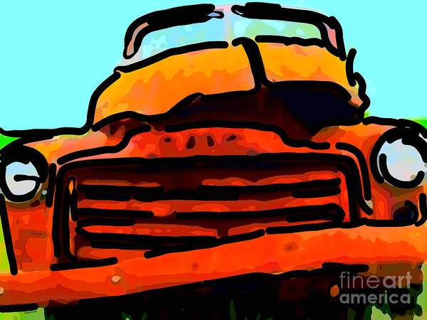 Rusty Truck Digital Art - The Old Jalopy . 7d8396 . Color Sketch Style by Wingsdomain Art and Photography