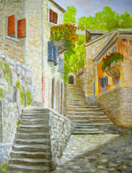 Painting - The Old Town by Katalin Luczay
