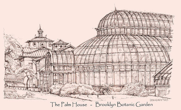 Planner Wall Art - Drawing - The Palm House In Pink by Building  Art