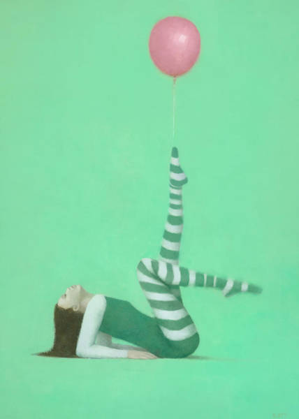 Wall Art - Painting - The Pink Balloon I by Steve Mitchell