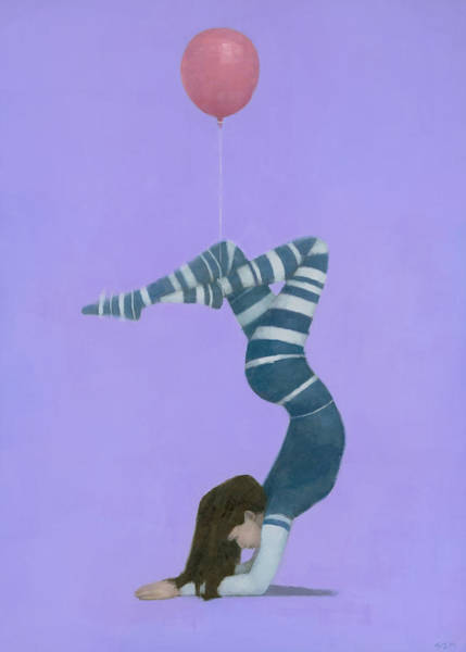 Wall Art - Painting - The Pink Balloon II by Steve Mitchell
