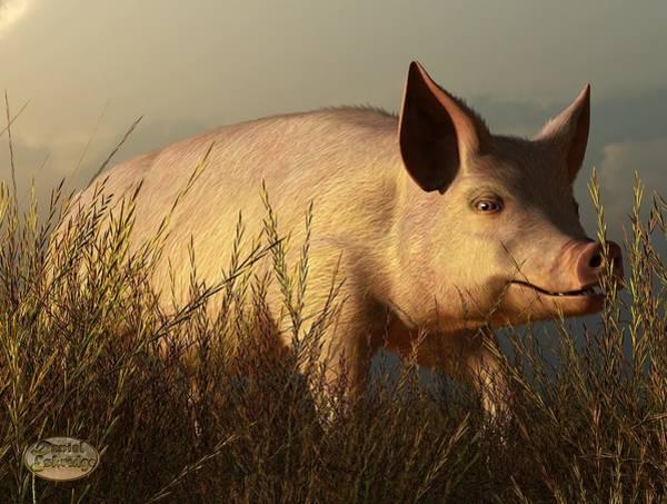 Bbq Digital Art - The Pink Pig by Daniel Eskridge