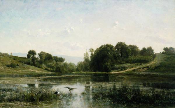 Marsh Bird Painting - The Pond At Gylieu by Charles Francois Daubigny