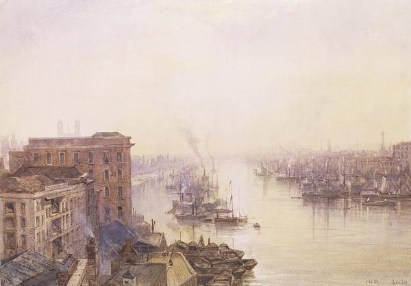 Pool Painting - The Pool From The Adelaide Hotel London Bridge by William Wyld