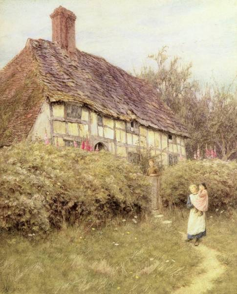 Half Timbered Painting - The Priest's House West Hoathly by Helen Allingham
