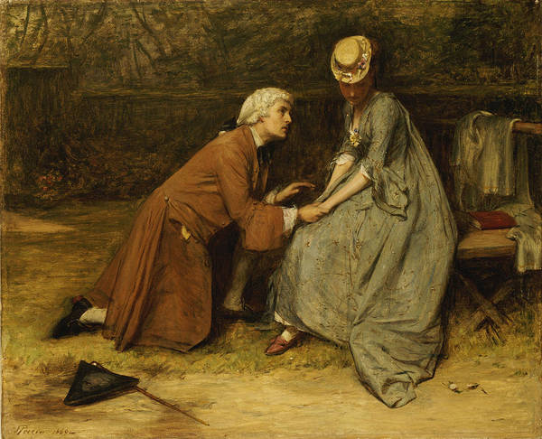 Kneeling Painting - The Proposal by John Pettie