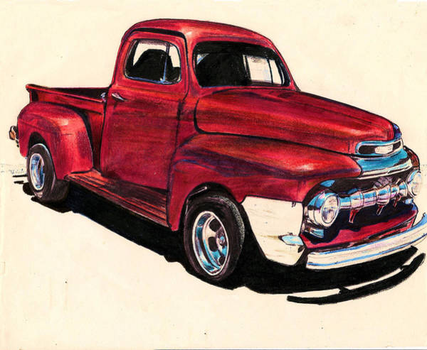 Old Red Truck Drawing - The Red Truck by Cheryl Poland