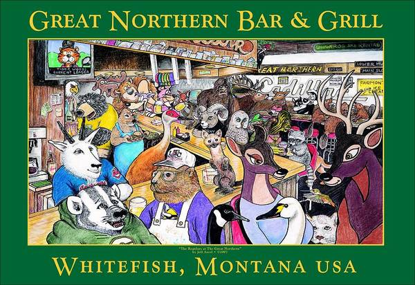 Marmot Mixed Media - The Regulars At The Great Northern by Jeff Arcel