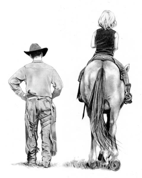Wall Art - Drawing - The Riding Lesson by Joyce Geleynse