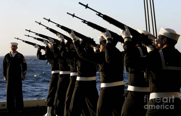 Uss Carl Vinson Photograph - The Rifle Detail Aboard by Stocktrek Images