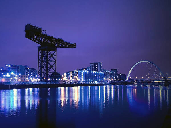 The Crane Photograph - The River Clyde At Night. by Amanda Finan