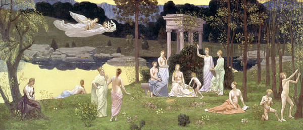 Portico Painting - The Sacred Wood Cherished By The Arts And The Muses by Pierre Puvis de Chavannes