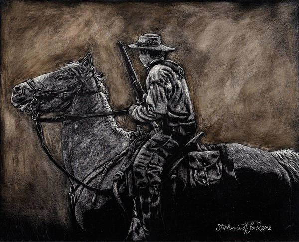 Confederate Soldier Drawing - The Scout by Stephanie Ford