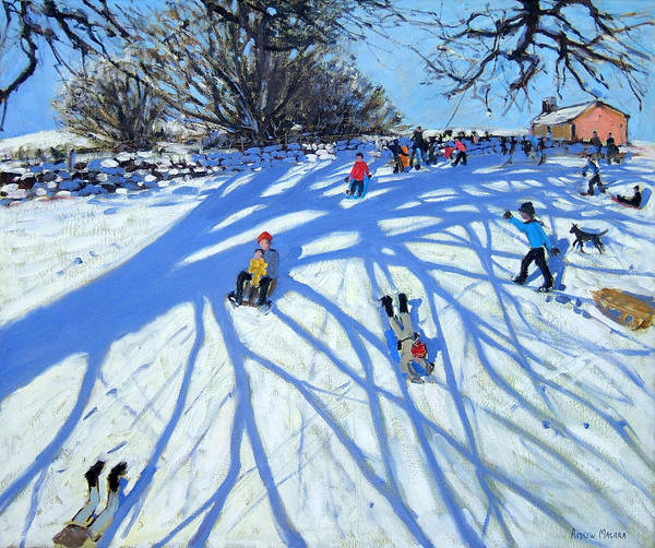 Sledge Wall Art - Painting - The Shadow Derbyshire by Andrew Macara