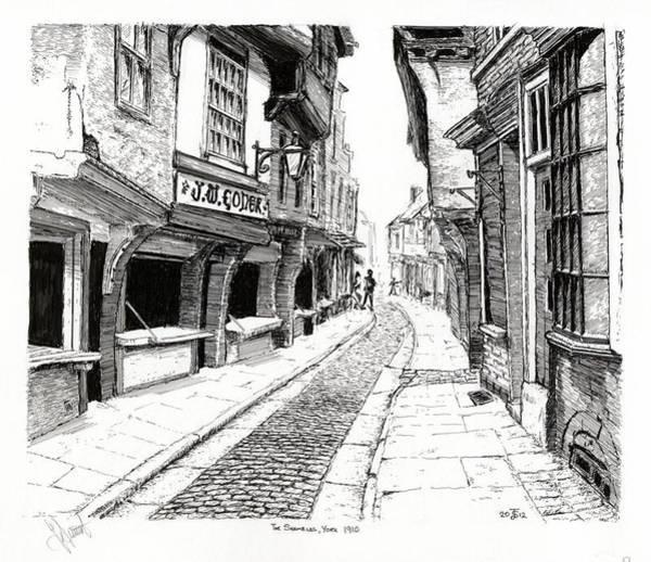 Quaint Drawing - The Shambles  York England by John Simlett
