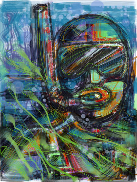Exploring Mixed Media - The Snorkeler by Russell Pierce