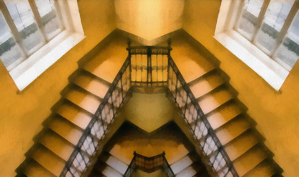 Digitalart Painting - The Staircase Reflection by Odon Czintos