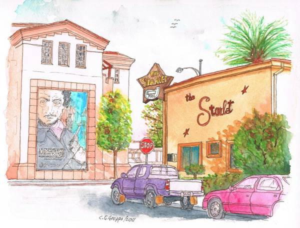 Acuarela Painting - The Starlet Motel And Warner Bros Offices In Burbank - California by Carlos G Groppa