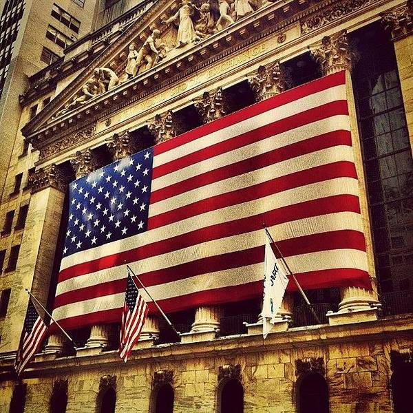 Skyline Wall Art - Photograph - The Stock Exchange Gets Patriotic by Luke Kingma