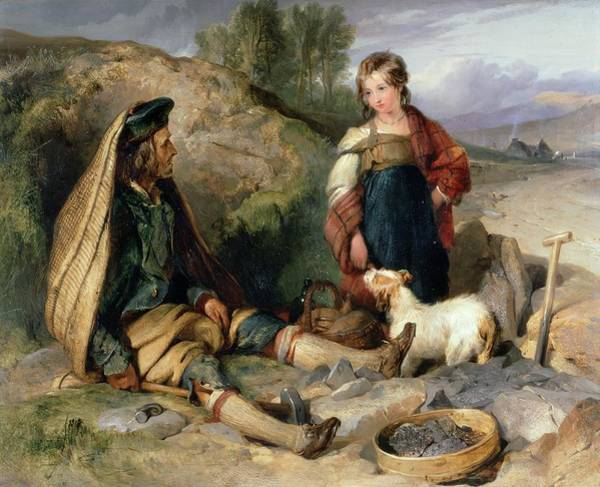 Spade Painting - The Stone Breaker And His Daughter by Sir Edwin Landseer