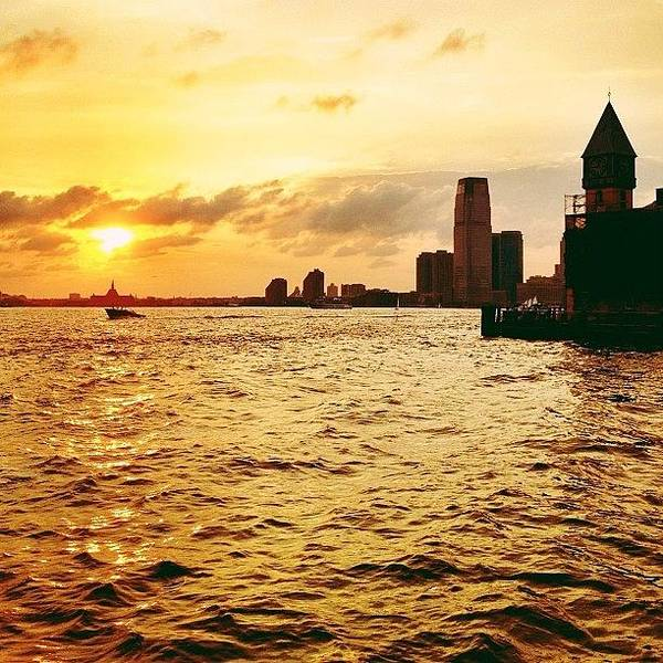 Wall Art - Photograph - The Sun Left A Trail Of Kisses - Battery Park City Sunset - New York City by Vivienne Gucwa