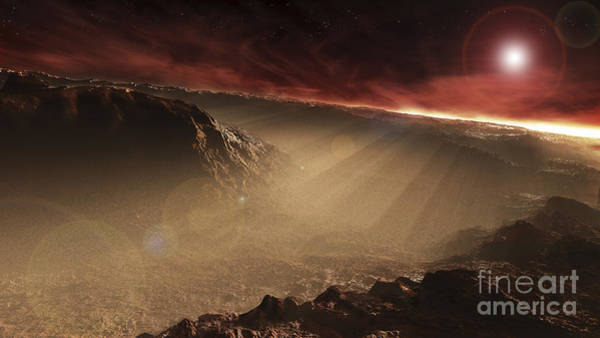 Mound Digital Art - The Sun Rises Over Gale Crater, Mars by Steven Hobbs