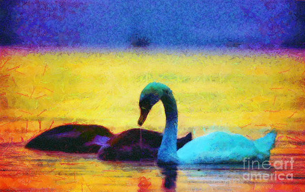 Digitalart Painting - The Swan Family by Odon Czintos