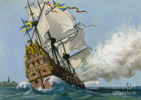 Galleons Wall Art - Painting - The Swedish Warship Vasa by Ralph Bruce