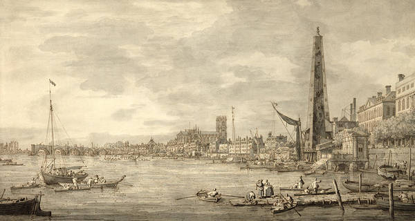 The Grey Photograph - The Thames Looking Towards Westminster From Near York Water Gate  by Giovanni Antonio Canaletto