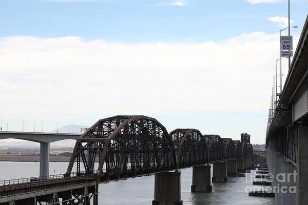 Carquinez Bridge Wall Art - Photograph - The Three Benicia-martinez Bridges - 5d18625 by Wingsdomain Art and Photography