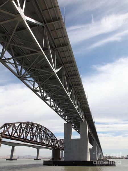 Carquinez Bridge Wall Art - Photograph - The Three Benicia-martinez Bridges In California - 5d18670 by Wingsdomain Art and Photography