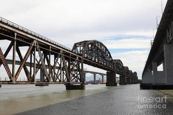 Carquinez Bridge Wall Art - Photograph - The Three Benicia-martinez Bridges In California - 5d18678 by Wingsdomain Art and Photography
