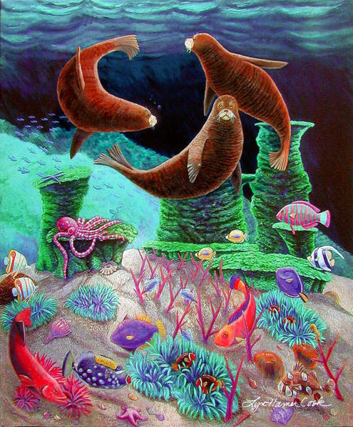 Octopus Painting - The Three Graces by Lyn Cook