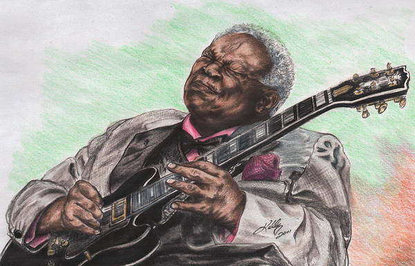 B B King Drawing - The Thrill Is Gone by Kathleen Kelly Thompson