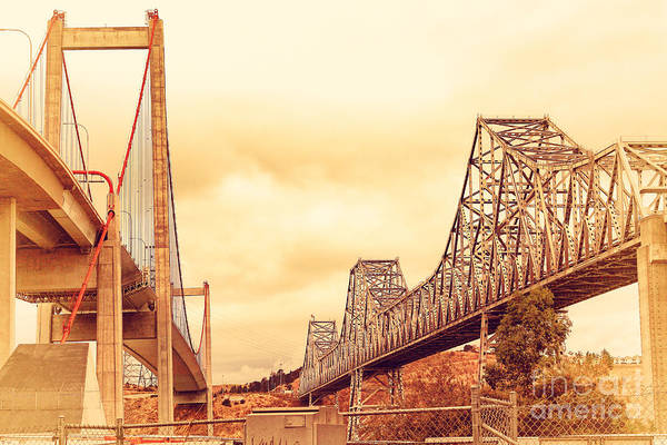 Alfred Zampa Wall Art - Photograph - The Two Carquinez Bridges At Crockett And Vallejo California . Aka Alfred Zampa Memorial Bridge . 7d8830 by Wingsdomain Art and Photography