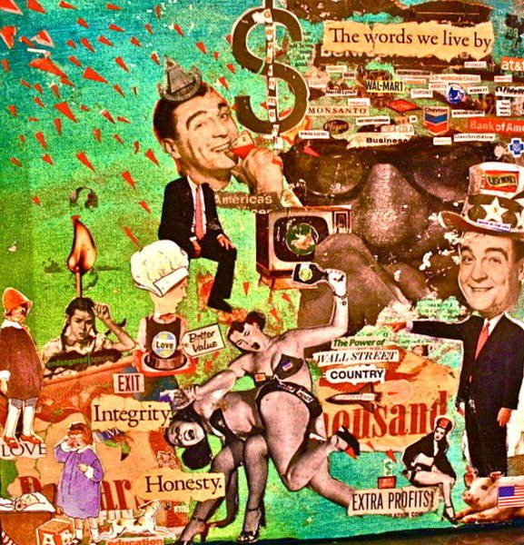 Capitalism Mixed Media - The United States Of Greed by Lauren Brenner