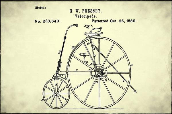 Digital Art - The Velocipede Patent 1880 by Bill Cannon