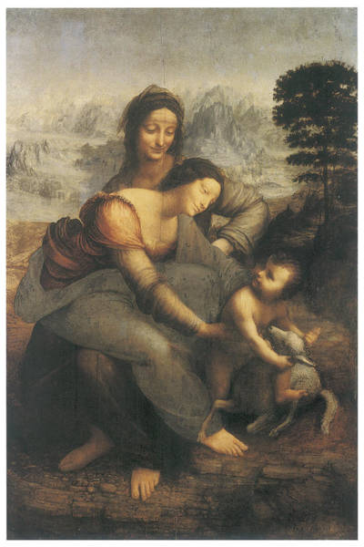 Saint Anne Painting - The Virgin And Child With Saint Anne by Leonardo Da Vinci