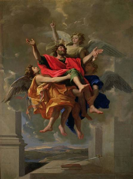 Sword Painting - The Vision Of St. Paul by Nicolas Poussin