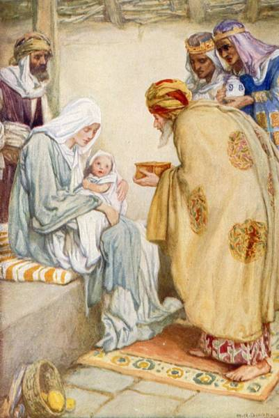 Lamb Of God Wall Art - Painting - The Visit Of The Wise Men by Arthur A Dixon
