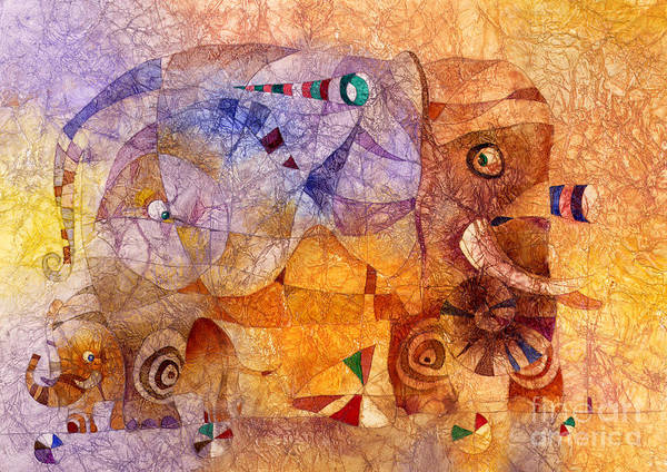 Wall Art - Mixed Media - The Wandering Elephant 2 by Svetlana and Sabir Gadghievs