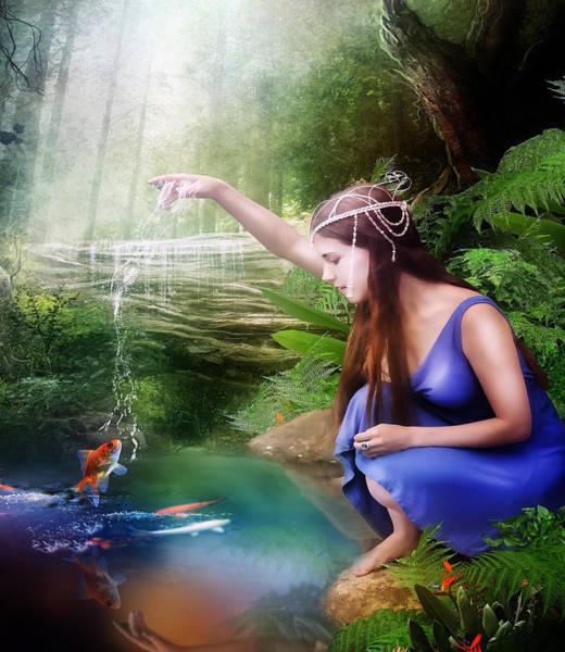 Water Plant Digital Art - The Water Hole by Karen Koski