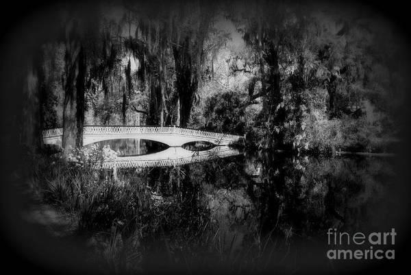 Photograph - The White Bridge In Magnolia Gardens Sc Bw by Susanne Van Hulst