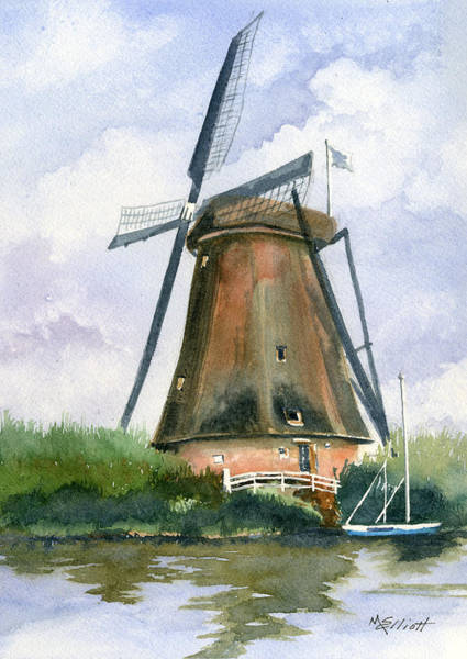Windmill Painting - The Windmills Of Your Mind by Marsha Elliott