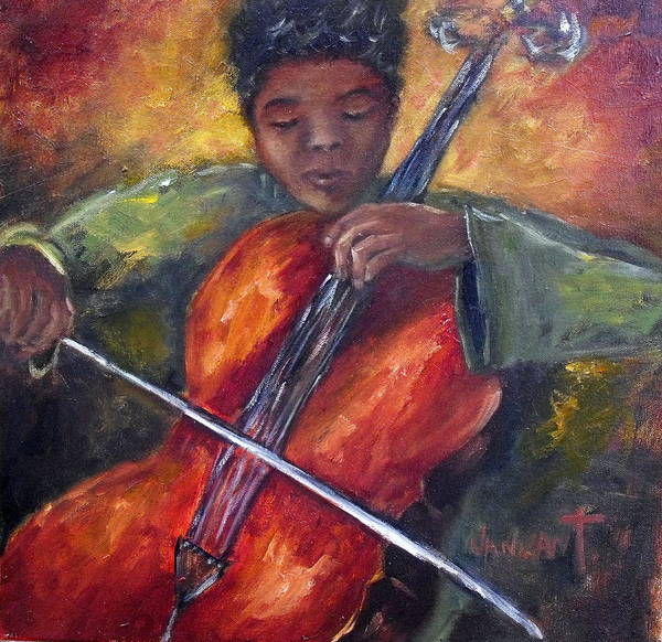 Cellist Painting - The Young Cellist by Monica Vanzant