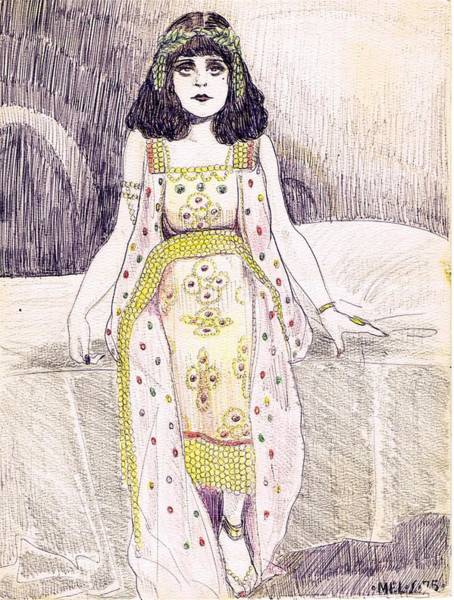 Flappers Drawing - Theda Bara 2 by Mel Thompson