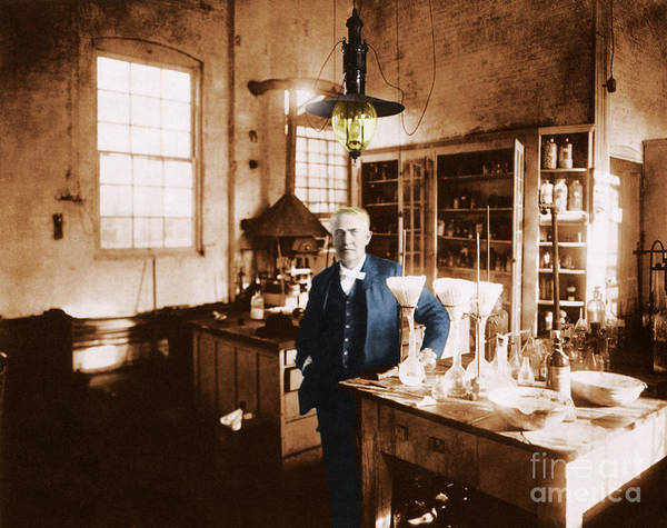 Tele Photograph - Thomas Edison, American Inventor by Science Source