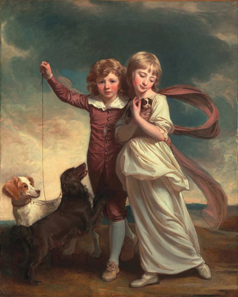 Brothers Painting - Thomas John Clavering And Catherine Mary Clavering by George Romney